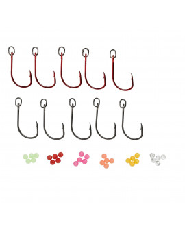 SG S1 SINGLE HOOK 3/0 RED/DG KIT 10PCS